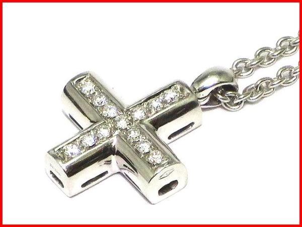 BVLGARI グリーククロス ダイヤ ペンダント ネックレス K18WG