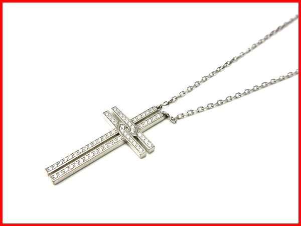 Cartier クロスネックレス K18WG ダイヤモンド